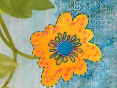 Step stitch outside flower/French knots/chain stitch