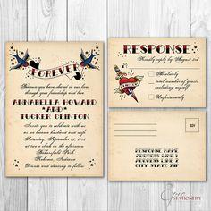 rockabilly wedding invitation   Vintage Tattoo Rockabilly Wedding Invitation & RSVP Postcard Set with ...