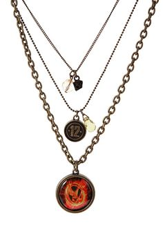 Support District 12 with the Hunger Games MockingJay Triple Chain Necklace