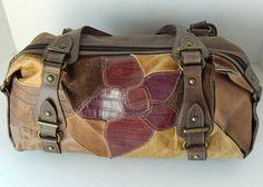 Fossil Multicolor Patchwork Handbag Purse w/ Key Suede Leather Flower Earthtones #Fossil #Doctor