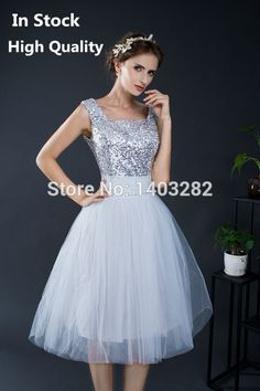 >> Click to Buy << Silver Sequins Top Short Junior Bridesmaids Dresses Tulle Dress For Wedding Party Dress Prom Gowns vestido festa casamento 2016 #Affiliate