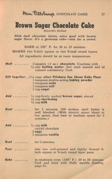 Vintage Recipe Brown Sugar Chocolate Cake