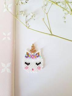 Items similar to Unicorn woven Miyuki beads brooch on Etsy Hama Beads Patterns, Beading Patterns, Bead Jewellery, Beaded Jewelry, Beaded Brooch, Crochet Earrings, Unicorn Cross Stitch Pattern, Bijoux Diy, Loom Beading