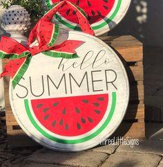 Hello Summer Front Door Hanger Watermelon by ThreeLittleSigns on Etsy summer Hello Summer Front Door Hanger Watermelon Wooden Door Signs, Front Door Signs, Wooden Door Hangers, Porch Signs, Front Door Decor, Wood Signs, Initial Door Hanger, Wooden Doors, Summer Diy