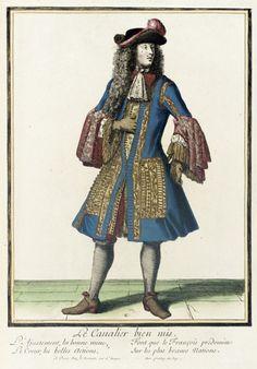"""1684 French Fashion plate """"Recueil des modes de la cour de France, 'Le Cavalier Bien Mis'"""" at the Los Angeles County Museum of Art, Los Angeles"""