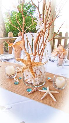 Sand Petal Weddings offers the convenient rental service of beach style centerpieces for ease to the traveling destination bride. Our numerous design style Beach Wedding Reception, Wedding Reception Centerpieces, Beach Wedding Decorations, Wedding Ideas, Beach Weddings, Wedding Favors, Wedding Ceremony, Wedding Locations, Beach Themes