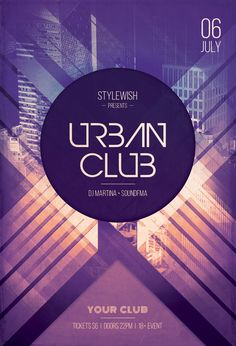Urban Club Flyer by styleWish (Buy PSD file - $9) Creative poster design with buildings in the background. #design #poster #graphic