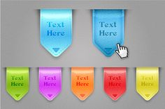 Create a Set of Glossy Labels and Save them for Web   http://vector.tutsplus.com/tutorials/icon-design/create-a-set-of-glossy-labels-and-save-them-for-web/#