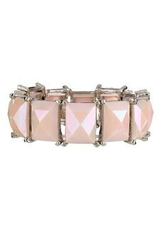 Pink rectangle Gem Stretch Bracelet (original price, $14) available at #Maurices