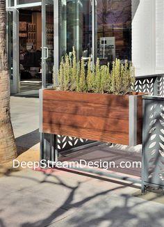 rectangular wood planter for restaurant patio