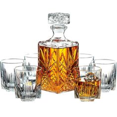 Paksh Novelty Italian Crafted Glass Decanter & Whisky Glasses Set, Elegant Whiskey Decanter with Ornate Stopper and 6 Exquisite Cocktail Glasses Scotch Whiskey Bourbon (affiliate link Whiskey Decanter, Whiskey Glasses, Whiskey Drinks, Scotch Whiskey, Bourbon Whiskey, Whiskey Gift Set, Old Fashioned Glass, Wine And Liquor, Bar Set