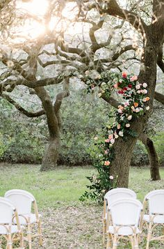 Sweet Spring Wedding Ceremony Tree Covered in Greenery and Flowers