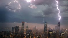 Lightning strikes the Willis Tower (formerly Sears Tower) in downtown on June 12, 2013 in Chicago, Illinois. A massive storm system moved in...