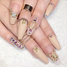 Matte Nude Squval Acrylic Nails w/ Rhinestones