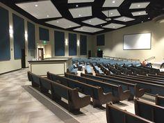 West Orlando Baptist Church in Winter Garden, FL. New sanctuary complete White ceiling clouds. Fixed sound booth. Church Interior Design, Interior Wall Colors, Church Stage Design, Modern Interior Design, Auditorium Design, Building Concept, Building Design, Wall Panel Design, Floor Design