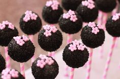 Black and Pink Baby Shower Cake Pops