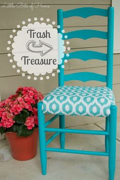 Old wood chair makeover upholstery Trendy Ideas Ladder Chair, Ladder Back Chairs, Furniture Projects, Furniture Makeover, Home Furniture, Wooden Chair Makeover, Diy Projects, Kitchen Chair Makeover, Furniture Refinishing