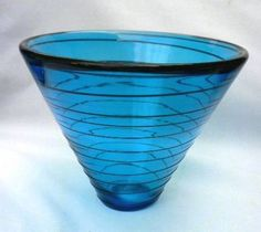 SIGNED-DATED-CORREIA-BLUE-ON-BLUE-THREADED-ART-GLASS-BOWL-VASE-1998