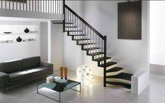 Quarter-turn staircase / metal frame / wooden steps / overhead LINEA RINTAL