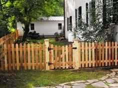western red cedar picket fence with gate