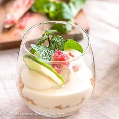Your favourite cocktail is now a dessert. These creamy mojito cheesecake parfaits are topped with finger lime caviar and a sprig of mint. Mini Desserts, Parfait Desserts, Parfait Recipes, Easy Desserts, Delicious Desserts, Dessert Recipes, Caviar Recipes, Lime Recipes, Chef Recipes