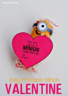 Valentine Kids can make themselves. So easy and looks just like a Minion from Despicable Me!