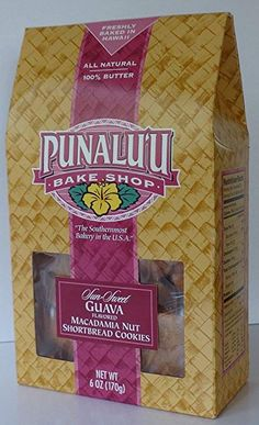 Punalu'u Bake Shop's Sun Sweet Guava Flavored Macadamia Nut Shortbread Cookies, All Natural, Butter, Freshly Baked in Hawaii, 6 Ounce Package Hawaiian Cookies, Shortbread Cookies, Freshly Baked, Gourmet Recipes, Bakery, Butter, Packaging, Snacks, Sun