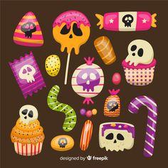 Flat halloween candy collection Free Vec... | Premium Vector #Freepik #vector #party Dulces Halloween, Manualidades Halloween, Halloween Cookies, Halloween Candy, Holidays Halloween, Halloween Pumpkins, Halloween Crafts, Happy Halloween, Halloween Decorations