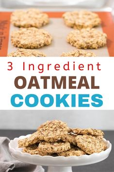 These 3 ingredient oatmeal cookies are low in fat and packed with whole grains, and they're ready to eat in less than 15 minutes flat. The perfect on-the-go breakfast or after-school snack! Delicous Desserts, Delicious Cookie Recipes, Holiday Cookie Recipes, Easy Cookie Recipes, Oatmeal Recipes, Candy Recipes, Dessert Recipes, Best Gluten Free Cookie Recipe, Best Homemade Cookie Recipe
