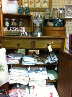 Vintage linens from our dealer 95 JS at Jesse James Antique Mall