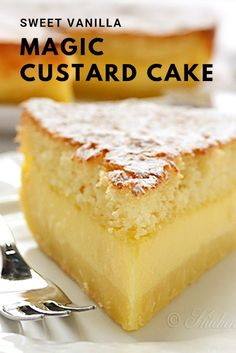 Easy Vanilla Magic Custard Cake is an easy dessert that could be perfect for a potluck or a party. One simple batter that turns into 3 different layers when baked. Diabetic Cake Recipes, Magic Cake Recipes, Pound Cake Recipes, Best Cookie Recipes, Easy Cake Recipes, Easy Desserts, Sweet Recipes, Dessert Recipes, Quick Dessert