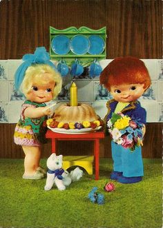 Let's have a party! A sweet little antique postcard of moppet style dolls having a little party...feltedfolksies999 | Flickr