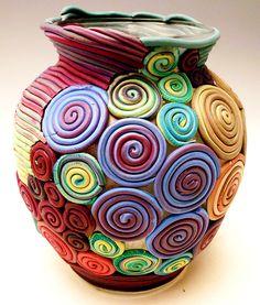 beautiful polymer clay vase