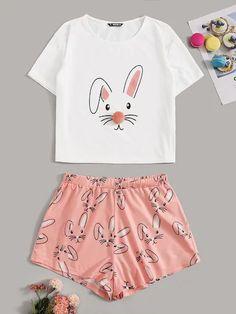 outfits with shorts Drop Shoulder Cartoon Print Top & Shorts PJ Set Cute Pajama Sets, Cute Pjs, Cute Pajamas, Pajamas Women, Cute Lazy Outfits, Teenage Outfits, Kids Outfits, Cool Outfits, Cute Sleepwear