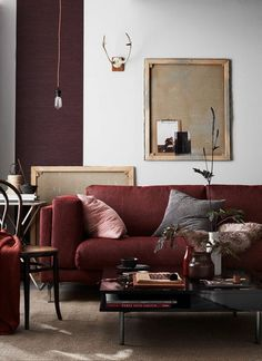 Burgundy living room decor decorating a neutral living room with a burgundy couch gray and gold Burgundy Living Room, Living Room Inspiration, Living Room Color Schemes, Living Room Designs, Home Living Room, Home Decor Trends, Apartment Living Room, Pallet Furniture Living Room, Apartment Decor
