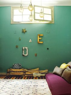 Wall color is beautiful. Looks like my living room wall color. Love the wall and bedding color combination.