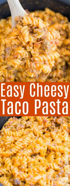Cheesy Taco Pasta The Diary of a Real Housewife The Effective Pictures We O Taco Pasta Recipes, Easy Meat Recipes, Ground Beef Recipes, Gourmet Recipes, Mexican Food Recipes, Crockpot Recipes, Dinner Recipes, Cooking Recipes, Taco Pasta Bake