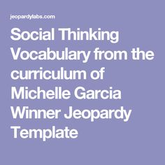 Middle School Social Skills Jeopardy Template  SocialPersonal