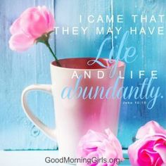 I came that they may have life and life abundantly. John 10:10