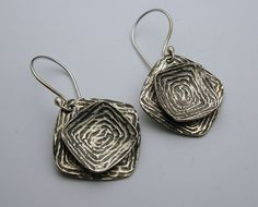 The Deep  Offset Square Oxidized Short Sterling by designsbysuzyn, $55.00