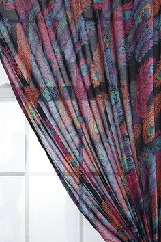 Peacock Feather Curtain, $39 {I'd love this to replace the blinds that cover the door to the patio.}