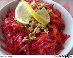 Salát ze syrové červené řepy Healthy Salad Recipes, Low Carb Recipes, New Recipes, Cooking Recipes, Vegetable Salad, Vegetable Side Dishes, Food Preparation, Indian Food Recipes, A Table