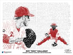 Every pitch of Halladay's perfect game and no-no in 2010 is written in this illustration. Ingenious.  Lionword Illustrations. #Phillies