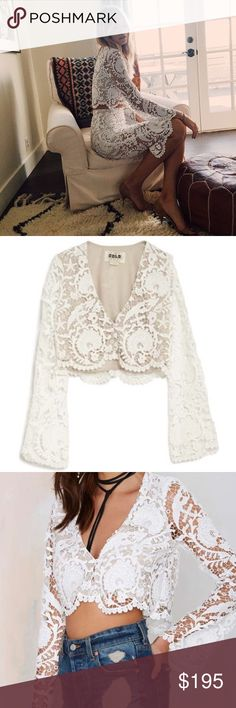 Stone Cold Fox Charlie blouse It's all about California love with this white lace top by Stone Cold Fox. The Charlie Blouse has nude lining, a plunging V-neckline, button closures at front, and slight bell sleeves. Scalloped hem, cropped fit. Perfect with high-waisted bells and wooden platforms. PRICE FIRM. Love this top. Only trade for other SCF or FL&L. Will fit XS or S. Trade value $200 *Polyester  *Runs true to size  *Model is wearing size 1  *Dry clean  *Made in U.S.A. Stone Cold Fox…