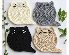 Cat Face Coasters set of 6 Crochet Cat Head Coasters Etsy Chat Crochet, Crochet Home, Free Crochet, Crochet Lion, Crochet Animal Amigurumi, Easy Crochet, Easy Knitting Projects, Crochet Projects, Crochet Designs