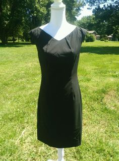 Massimo dress stretch 4 classic black tank sheath back zip nwot #Mossimo #TankSheath