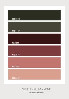 Green, Plum, Terracotta and Wine Bedroom Colour Scheme Bedroom Color Schemes, Bedroom Colors, Colour Schemes, Color Combos, Hex Color Palette, Color Palate, Colores Hex, Earth Tone Bedroom, Burgandy Color