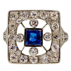 Art Deco Sapphire Diamond Gold Platinum Square Ring | From a unique collection of vintage fashion rings at https://www.1stdibs.com/jewelry/rings/fashion-rings/