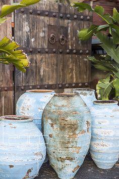 Turkish Odemis Olive Oil Pot – Blue Turkish Pots and a Big Beautiful Door full of hardware is the perfect backdrop for our Turkish Odemis Pots. Ceramic Pots, Terracotta Pots, Ceramic Pottery, Pottery Art, Landscape Design, Garden Design, Olive Jar, Garden Urns, Terracota