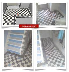 een boost voor de entree: gang met zwart wit tegels van 10x10 , pittig blokrandje en een blauwe touch: dank Han voor de foto's! | 3d ontwerp  | monique van waes mozaiek.com
